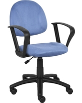 Microfiber Deluxe Posture Chair with Loop Arms Blue - Boss Office Products