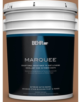 BEHR MARQUEE 5 gal. #S240-6 Ranch Brown Satin Enamel Exterior Paint and Primer in One