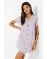 Womens Stripe Button Through Smock Shirt Dress - Purple - 6