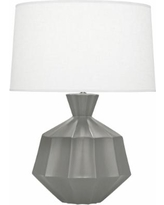 Robert Abbey Orion Matte Smoky Gray Taupe Ceramic Table Lamp