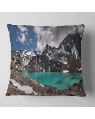 Designart 'Distant Mountains and Mountain Lake' Landscape Printed Throw Pillow (Square - 16 in. x 16 in. - Small)