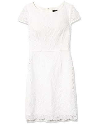 Adrianna Papell Women's Fiona LACE A-LINE Dress, Ivory, 8