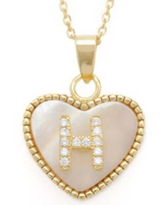La Preciosa Sterling Silver Goldplated Mother of Pearl Cubic Zirconia Initial Heart Necklace (H)