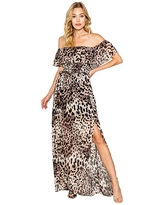 LAVENDER BROWN Cheetah Printed Off-the-Shoulder Maxi Dress with Smocking Detail At the Bust (Brown Multi) Women's Clothing