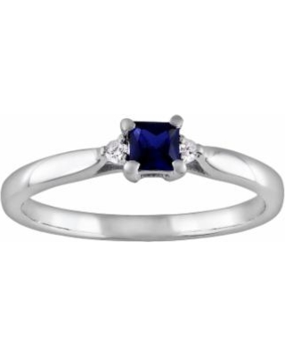 Stella Grace Sterling Silver Lab-Created Sapphire and Diamond Accent Ring, Women's, Size: 8, Blue