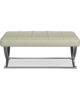 James Nickel Ottoman, Large, Solid, Faux Suede, Stone