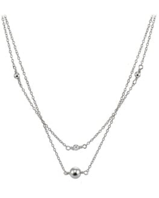 Mondevio Sterling Silver Polished Ball Layered Choker Necklace (White)