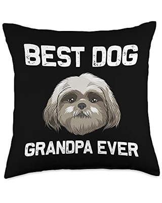 Best Pup Breed & Little Lion Fur Floppy Presents Funny Shih Tzu Gift for Grandpa Papa Dog Puppy Owner Animal Throw Pillow, 18x18, Multicolor
