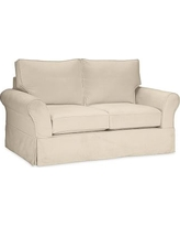 PB Comfort Slipcovered Loveseat, Polyester Wrap Cushions, Twill Parchment