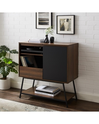 Spectacular Deals On Welwick Designs 30 Record Player Accent Cabinet Solid Black Dark Walnut