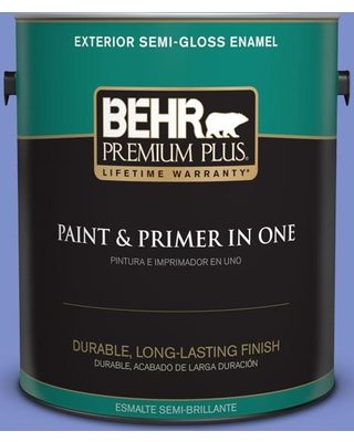 BEHR Premium Plus 1 gal. #P540-5 Pansy Garden Semi-Gloss Enamel Exterior Paint and Primer in One