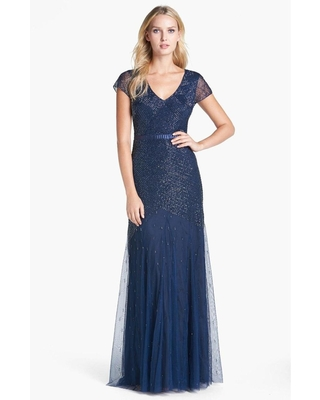 Adrianna Papell - Sequined V Neck Long Dress 91885900
