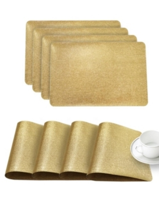 """Dainty Home Reversible Metallic Galaxy Snake Skin Texture 12"""" x 18"""" Placemats - Set of 4"""