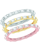 La Preciosa Sterling Silver/Gold Plated/Rose Gold Plated Baguette Cubic Zirconia Stackable Eternity Band 3 Ring Set (6)