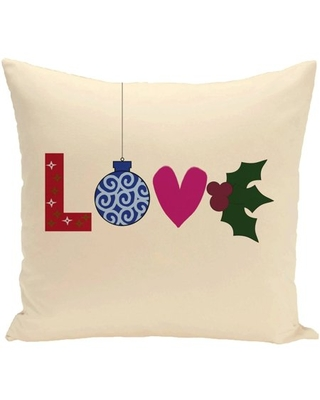 """Simply Daisy 16"""" x 16"""" Love! Decorative Holiday Word Print Pillow"""