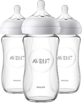 Philips Avent 3pk Natural Glass Baby Bottle 8oz, Clear