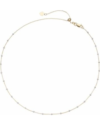 """14k Gold Beaded Station Choker Necklace, Women's, Size: 16"", Yellow"""