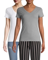 No Boundaries Juniors' Short Sleeve Brushed Rib V-Neck T-Shirt, 2 Pack
