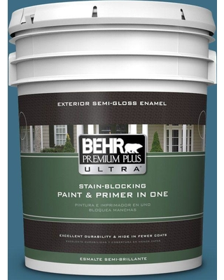 BEHR ULTRA 5 gal. #S490-6 Bering Wave Semi-Gloss Enamel Exterior Paint and Primer in One