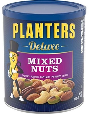 Planters Deluxe Mixed Nuts (15.25 oz Canister) - Variety Mixed Nuts with Cashews, Almonds, Hazelnuts, Pistachios & Pecans