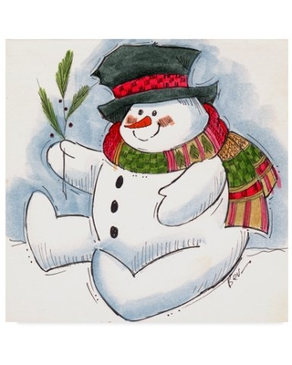 Trademark Fine Art 'Snowman With Scarf' Canvas Art by Beverly Johnston