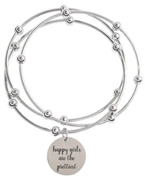 3 Piece Stackable Inspirational Bangles by Pink Box Happy Girls Silver