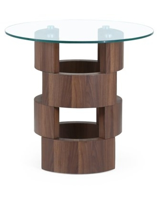 Glass Table Top End Table with Building Block Design Base