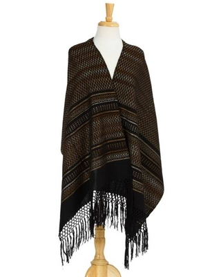 Artisan Handwoven Cotton Shawl from Mexico