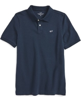 Boy's Vineyard Vines Classic Pique Cotton Polo, Size XL (18) - Blue