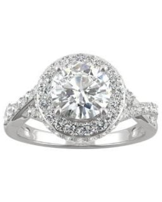 Charles & Colvard White 3/4 ct. t.w. Lab Created Moissanite Halo Engagement Ring in 14k White Gold