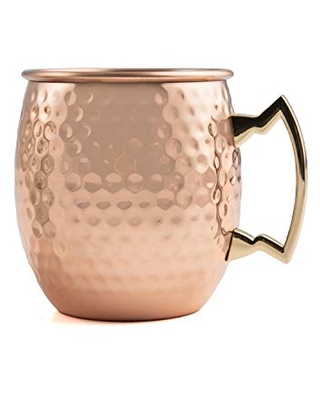 Cambridge Silversmiths Hammered Copper Moscow Mule, Set of 2, 20 Ounce
