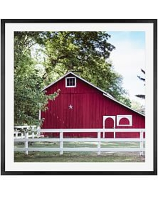 """Red Barn in Summer by Cindy Taylor, 25 x 25"""", Wood Gallery, Frame, Black, Mat"""