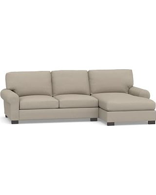 Turner Roll Arm Upholstered Right Arm 2-Piece Sectional with Chaise, Down Blend Wrapped Cushions, Performance Brushed Basketweave Sand