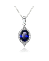 Glitzy Rocks Sterling Silver Created Blue Sapphire and White Topaz Oval-shaped Fashion Necklace (Created Blue Sapphire)