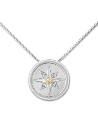 Compass Necklace Diamond Accent Sterling Silver/10K Gold