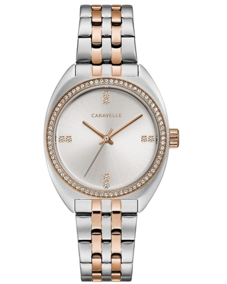 Caravelle by Bulova Womens 45L180 Retro Two-Tone Crystal Accent Bracelet Watch