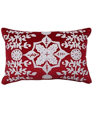"""Pillow Perfect Snowflakes & Berries Embroidered Velvet with Matching Welt Cord Lumbar Decorative Pillow, 12"""" x 18"""", Red, White"""