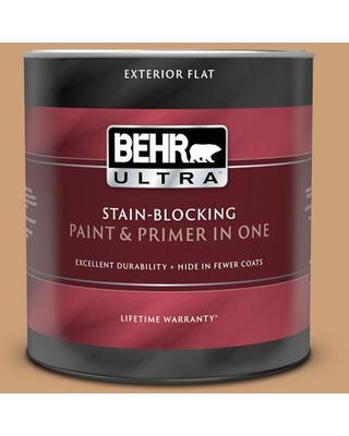BEHR ULTRA 1 qt. #ICC-62 Pumpkin Butter Flat Exterior Paint and Primer in One