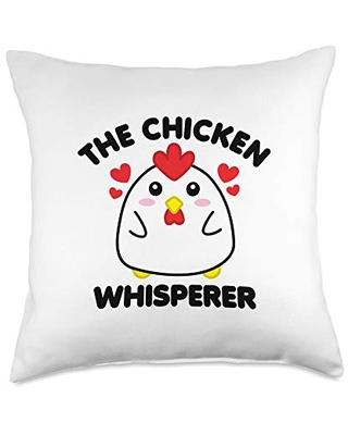 Detour Shirts The Chicken Whisperer Funny Poultry Cute Chick Black Text Throw Pillow, 18x18, Multicolor
