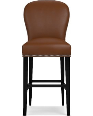 Maxwell Bar Stool without Handle, Tuscan Leather, Bourbon, Polished Nickel