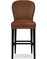 Maxwell Bar Stool w/Out Handle Tuscan Leather Solid, Bourbon Polished Nickel