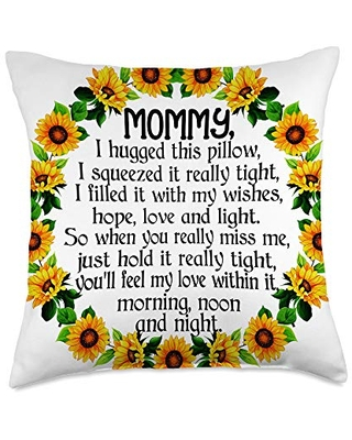 Funny Best Mommy Ever Gifts Idea For Mommy Cute Poem Floral Sunflower Best Gift for Mommy Throw Pillow, 18x18, Multicolor