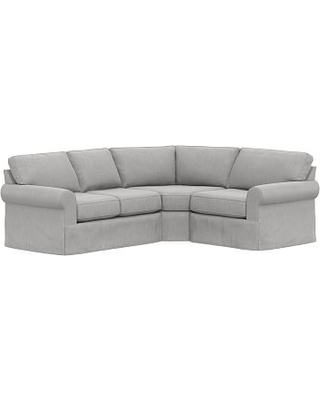 Buchanan Roll Arm Slipcovered Left Arm 3-Piece Wedge Sectional, Polyester Wrapped Cushions, Sunbrella(R) Performance Chenille Fog