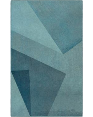 Brumlow Mills Brooklyn Contemporary Printed Rug, Med Blue
