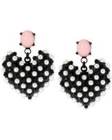 Betsey Johnson Black-Tone Imitation Pearl Heart Earrings