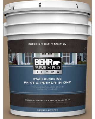 BEHR Premium Plus Ultra 5 gal. #700D-5 Toffee Crunch Satin Enamel Exterior Paint and Primer in One