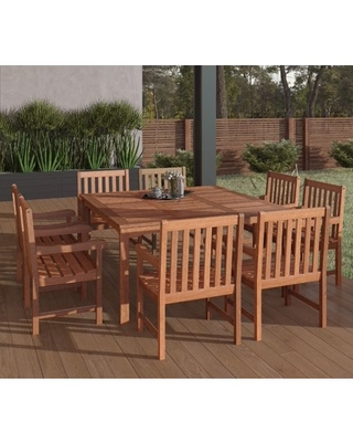 Amazonia Milano 9-Piece Square Patio Dining Set | Eucalyptus Wood | Ideal for Outdoors and Indoors, Seating Capacity: 8