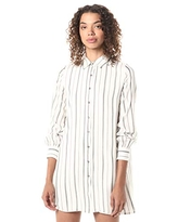 cupcakes and cashmere Women's Freda Yarn dye Stripe Shirt Dress, Ivory, Large