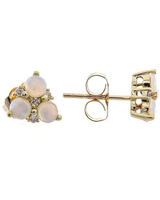 LIMITED QUANTITIES! Diamond Accent Genuine White Opal 10K Gold 7mm Stud Earrings, One Size