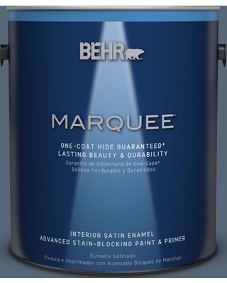 BEHR MARQUEE 1 gal. #S510-6 Durango Blue One-Coat Hide Satin Enamel Interior Paint and Primer in One